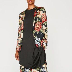 GORGEOUS NWT ZARA Floral Blazer Jacket w Belt